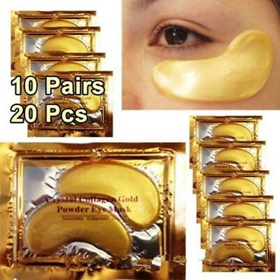 Collagen 20 Pairs Eye Patch Anti Mask Aging Under Wrinkle Crystal Gel Gold Color