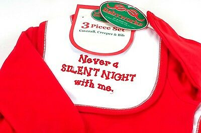 NWT Christmas 0-3 Months Set Holiday Red Soft Baby Works Silent Night New 15000