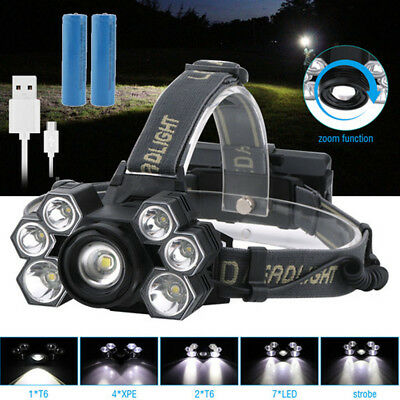 BORUiT 30000Lm Zoomable XML T6 3LED Headlamp Head Light Torch Lamp 18650 Battery
