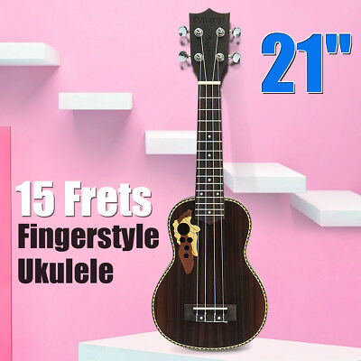 21'' Pro Soprano Ukulele Uke Acoustic 15-Frets Hawaii Guitar Beginner 4 String