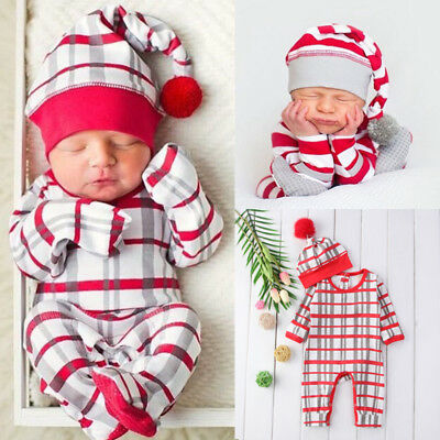 3f5a619c0 Newborn Baby Christmas Boys Girls Clothes Romper Bodysuit +Hat Outfit Set  0-24M