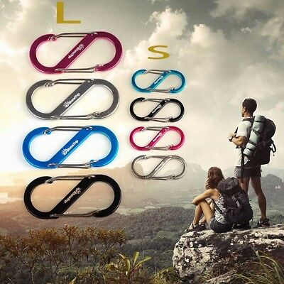 4Stk S Type Buckle S-Biner Double Gated Carabiner Key Ring Clip Hook Outdoor ~
