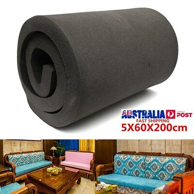 Black High Density Seat Firm Polyurethane Foam Rubber Replacement Pad 5X60X200CM