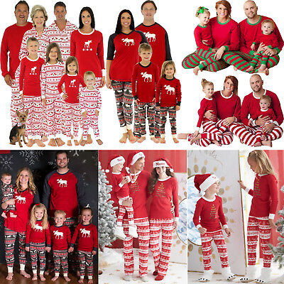 Christmas Family Matching Pajamas Set Adult Womens Mens Kids Sleepwear Nightwear