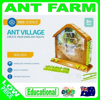 Ant Village Set Toy Animal Science Kids Learning Kit Build Magnifier Farm Ants
