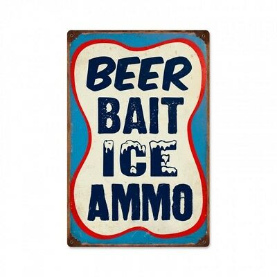 Beer Bait Ice Ammo Tin Metal Sign Service Gas Station Fishing Hunting