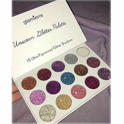 UK Hot Unicorn 15 Colors Pigmented Glitter Eyeshadow Highlighter Palette Make Up