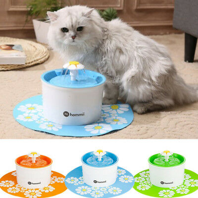 Hommii Automatic Electric Pet Water Fountain Cat Dog Drinking Flower Bowl 1.6L