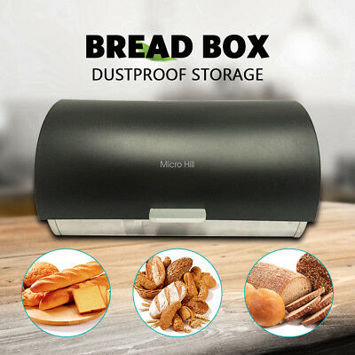New Bread Bin Stainless Steel Kitchen Storage Box Container Breadbox Storer UA