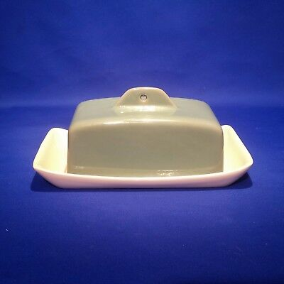 Vintage 1950s DENBY MANOR GREEN - BUTTER DISH TRAY & LID - Excellent Condition