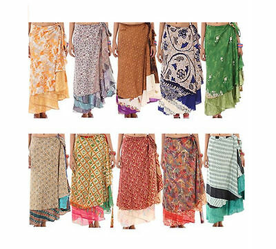 2Layer Vintage Silk Sari Magic Wrap Around Skirts Dress Summer Beach Lot Of Pack