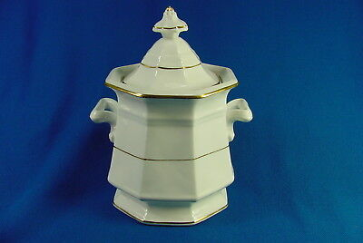 Rare 19Thc Bennington White Porcelain Octagonal Covered Sugar Bowl Gold Stripe