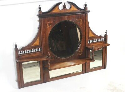 Antique Edwardian Rosewood Inlaid Overmantle Mirror FREE DELIVERY [PL1486N]