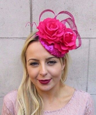 Hot Pink Sequin Rose Flower Fascinator Pillbox Hat Races Cocktail Feather 4469