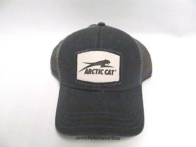 Arctic Cat Gray Frayed Patch Mesh Back Adjustable Baseball Hat Cap 5283-104