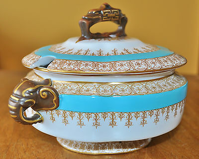 Antique Royal Worcester Turquoise Tureen Elephant Handles W2454 Ovington 1888