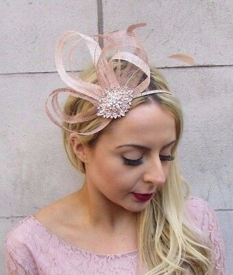 Nude Beige Gold Silver Sinamay Feather Fascinator Races Alice Band Headband 4474