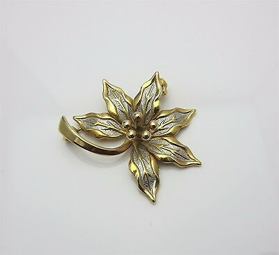 Vintage Costume Jewellery Brooch Pin Floral Silver Enamel Gold Tone Metal 1970s