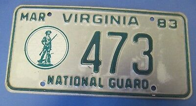 1983 Virginia National Guard License Plate low number