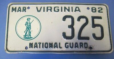 1982 Virginia National Guard License Plate low number