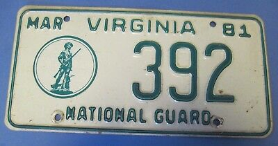 1981 Virginia National Guard License Plate low number
