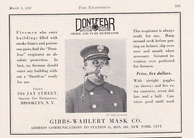Dontfear Smoke And Fume Respirator   1927  Ad                        7209