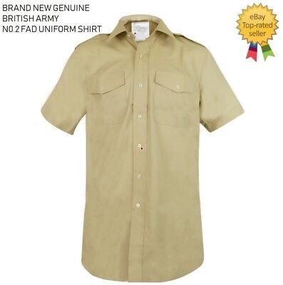 NEW GENUINE BRITISH Army No2 FAD Uniform Military Dress Shirt All Ranks Fawn
