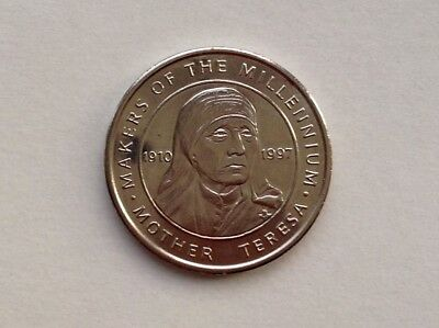 Mother Teresa 1910 - 1997  Makers Of The Millennium Silver Coloured Token