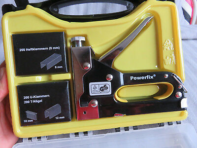 POWERFIX Handtacker Set Koffer TOP Hefter Polster Isolierarbeiten 8 / 12 / 10mm