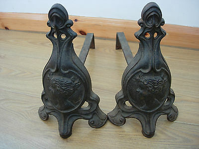 Rare Antique French Art Nouveau Chenets Andirons Cast Iron Hector Guimard