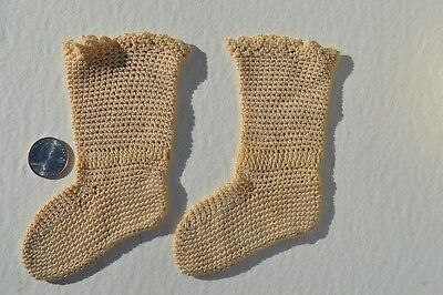 Pretty Pair Of Antique Victorian Era Hand Crocheted Baby Socks  Wonderful Cond