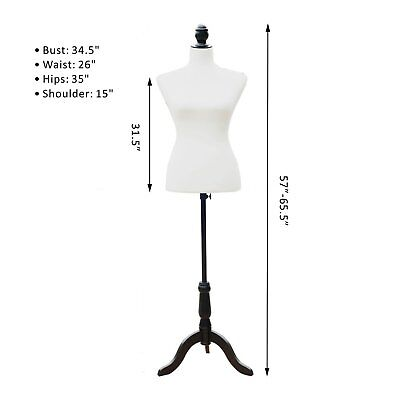 """38"""" 33"""" 39"""" White Male Mannequin Dress Form Size Small (On Black Wood Tripod Sta"""