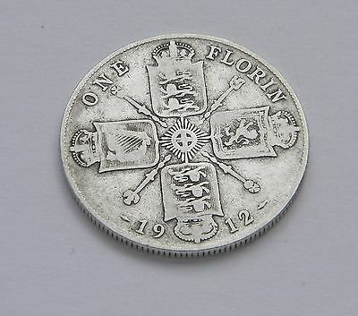 British One Florin 1912 Sterling Silver Coin Great Britain Two Shillings 1912