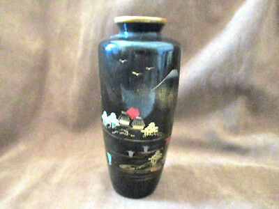 Vintage Japanese Black Lacquer on Wood Hand Painted Bud Vase
