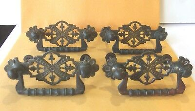 4 Antique Drawer Pulls with back plates Ornate Victorian Eastlake Cast Brass