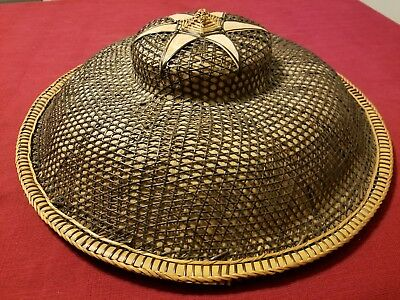 """Vintage Asian Conical Coolie Rattan Woven Hat Farmer Banana Leaf Rice Hat 18.5"""""""