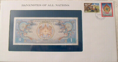 Banknotes of All Nations Bhutan 1981 1 Ngultrum P5 UNC Prefix A/1