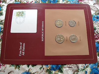 Coin Sets of All Nations Ghana w/card UNC 100, 50, 20, 10 Cedis 1991 Otter Stamp