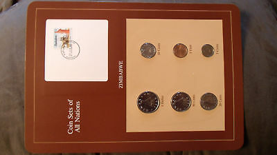 Coin Sets of All Nations Zimbabwe  w/card  1980 - 1983 UNC 12c stamp