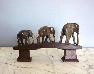 Dark Jade Antique Hand Carved Elephants Wooden Base