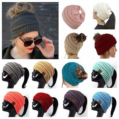 CC Beanie Ponytail Casual Hat Bubble Knit Fashion Winter Slouch Hats Oversize