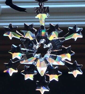 2004 Swarovski Christmas Ornament Large Snowflake Retired COA, box,  MIB, #2