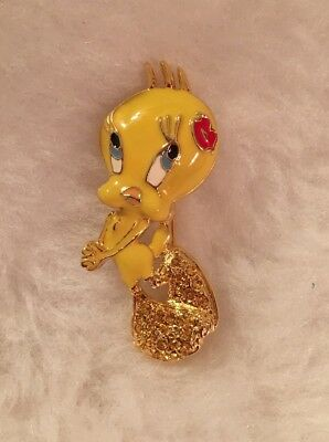Tweety Bird Looney Tunes Gold Tone Metal Enamel Rhinestone Pin Brooch Vintage