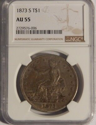 1873 - S T$1 Silver Trade Dollar Ngc Au55 -Ngc Pop In Au55 Is Only 8