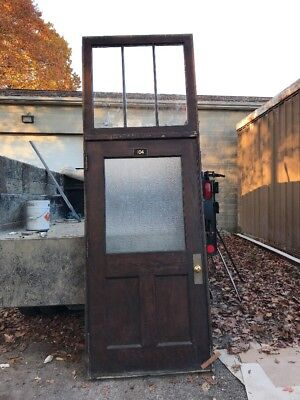 "H0104 Antique Oak Entrance Door With Jam Chicken Wire Glass 44.5 X 10'7"" X5.5"