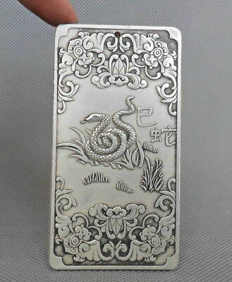 Collectible Chinese Handwork Old Miao Silver Carve Zodiac Snake Exorcism Pendant