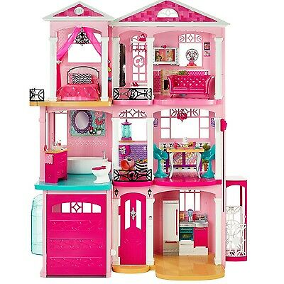 Barbie Dream House Dollhouse w/ Accessories 3 Story Doll House Townhouse Pink