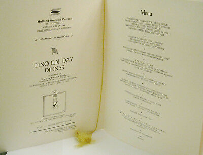 Lincoln Day Dinner Sunday February 12, 1978 at Sea ss Rotterdam World Cruise