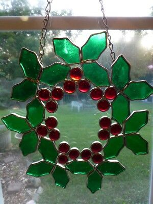 Vintage Stained Glass Holly Berry Hanging Christmas Wreath Sun Catcher