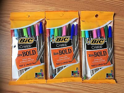 LOT of 3 BIC CRISTAL XTRA BOLD COLORFUL LINES 1.6 mm BALL POINT PENS TOTAL 24